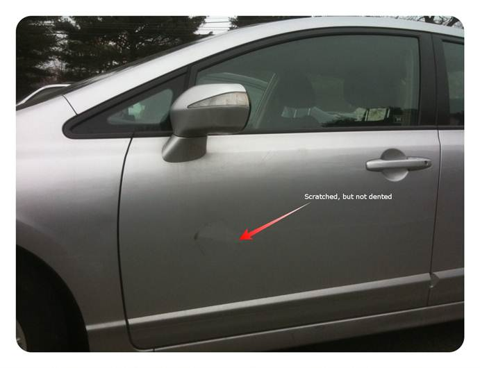 Surprisingly there was no dent; I\u0027m guessing the door must have bounced back when the car pulled away leaving a circular scratch but no permanent ... & Hoping for good Car-ma after a fender-bender | Jeremy Rothman-Shore Blog
