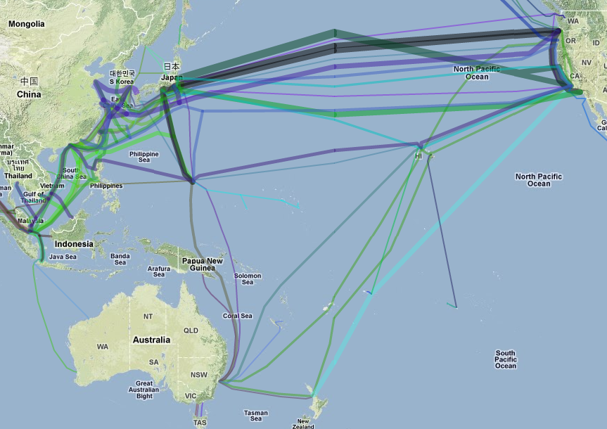 Map of the worlds submarine data cables highlight challenges of while there are routes that take a user through guam andor hawaii most of the cables in the pacific link directly between west coast of the united states gumiabroncs Choice Image