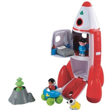 This rocket ship from ELC has a cockpit, living quarters, and a rover comparment.