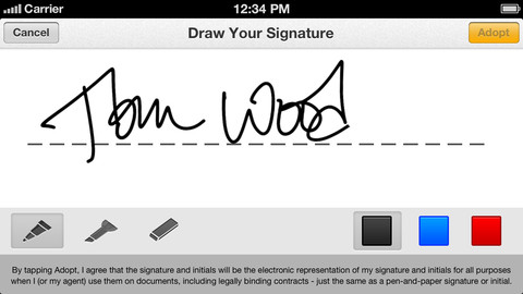 DocuSign Ink allows you to draw your signature