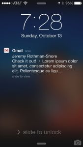 Push notifications come in from the Gmail app