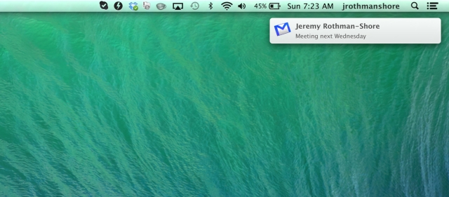 New mail notifications pop up in the OS X notification center, using whatever icon you have selected for the app.