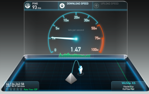 WiFi at this coffee shop's hotspot delivers a paltry 1 mbps.