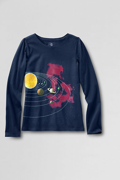 Lands' End's science t-shirt includes the planets but has a pinky-purple nebula in the background