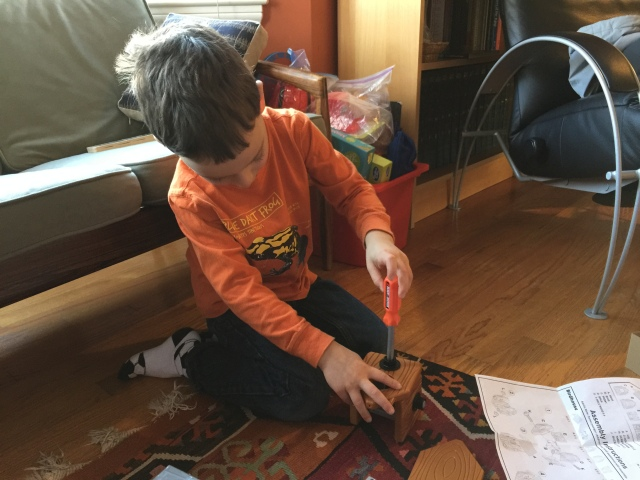 """My son loved putting together a small plastic birdhouse with this """"tools""""."""