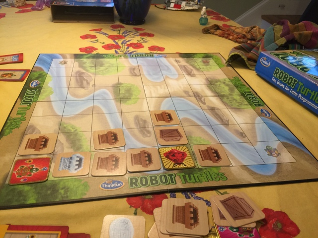 The board is set up as a grid, and the turtle can move forward or turn right or left.